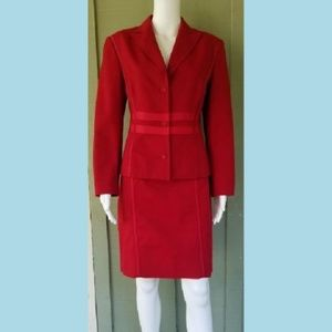 ETCETERA Red Cotton Career Skirt Suit 10/12